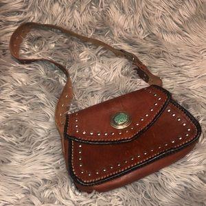 Vtg tooled boho western gypsy leather shoulder bag